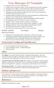 Tour Manager Resume resume sle for tour manager 100 images edit your chronological cv 38