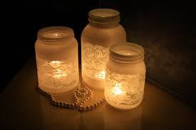 decoration: Equisite Candle Light For Rustic Decorated Mason Jars With  White Curved Paper And Long