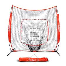 Amazon.com : GoSports 7\u0027 x Baseball \u0026 Softball Practice Hitting Pitching Net with Bow Frame, Carry Bag and Bonus Strike Zone, Great for All Skill