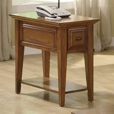 riverside oak ridge chair side end table drawers mounted on wood guides with drawer stops warm oak finish open bottom shelf 308