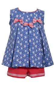 Americana Bow Tunic And Shorts Set By Bonnie Jean