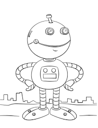 Small Picture Cute Cartoon Robot coloring page Free Printable Coloring Pages