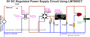 dc circuit diagram the wiring diagram regulated dc power supply circuit using bridge rectifier 1g4b42 circuit diagram