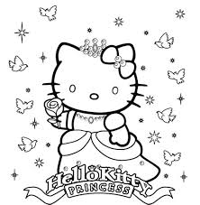 Princess Hello Kitty Coloring Pages Hello