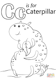 Small Picture Letter C is for Caterpillar coloring page Free Printable