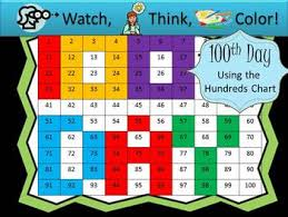 100th Day Hundreds Chart Fun Watch Think Color Mystery Pictures