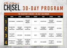 Masters Chisel Calendar Schedule And Meal Plan Printables
