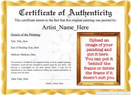 Certificate Of Authenticity Template Custom Painting Certificate Of Authenticity Template Fascinating