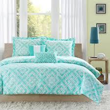 Intelligent Design Natalie 5 Piece Comforter Set Full Queen Comforter Set W Geometric Light Teal Squares