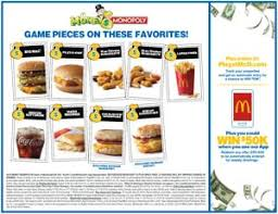 mcdonalds monopoly 2016 game board front mcdonalds monopoly 2016 game board back