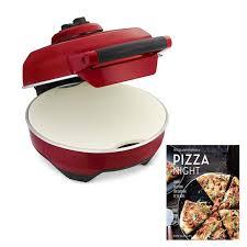 breville cri crust pizza maker with williams sonoma pizza night cookbook cranberry red