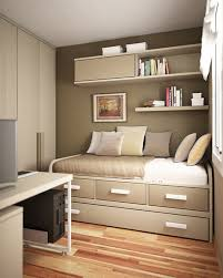 bedroom: Dark Brown Wall Color In Small Teen Bedroom Ideas With Entrancing  Trundle Bed Feat