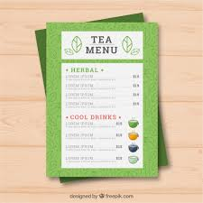 Tea Menu Template With Drinks Vector Free Download