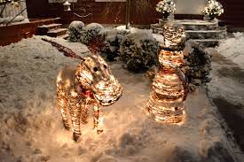 Outdoor Lighted Moose Rattan Snowman And Moose Outdoor Christmas Decorations With