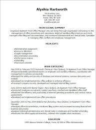 Resume Job Description Beauteous Assistant Front Office Manager Resume Job Description For
