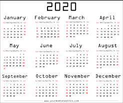 Plain Calendar 2020 2020 Calendars In Pdf Download Templates Of Calendar 2020