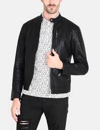 armani exchange clean front faux leather moto jacket pu for men a x