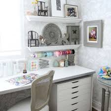 Shabby chic home office Old Charm Craft Room Small Shabbychic Style Builtin Desk Dark Wood Floor Craft Houzz 75 Most Popular Shabbychic Style Home Office Design Ideas For 2019
