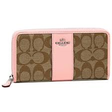 ... best price coach accordion zip wallet in signature coated canvas with  leather strip 13e46 d0a62 closeout coach madison perforated large ...