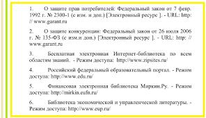 Как оформить список литературы по ГОСТ Примеры Образец оформления Интернет ресурсов в списке литературы