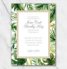 Wedding Invitation Downloads Tropical Palm Tree Leaves Wedding Invitation Template 100