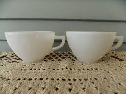 details about set of 2 vintage hazel atlas white milk glass starlight pattern coffee tea cups