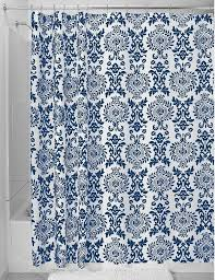 outstanding white and navy blue fl patterned shower curtain