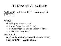 10 days till apes exam do now complete multiple choice page 6 questions