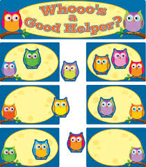 Classroom Assignment Chart Colorful Owls Job Assignment Bulletin Board Set