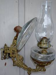 antique kerosene gold cast iron wall bracket oil lamp glass 8 mercury reflector 1 of 1only 1 available