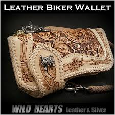 skull bikers wallet leather skull wallet carved wallet silver concho wild hearts leather silver id