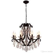 new design iron crystal pendant lights k9 crystal chandelier light fixtures black chandeliers home decor american village style e14 holder kids chandelier