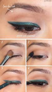 winged eyeliner tutorials how to emerald green cat eyeliner easy step by step