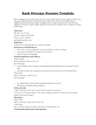 Sample Resume For Bank Perfect Resume