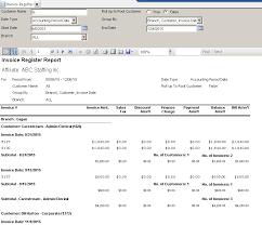 Standard Report Invoice Register Support Center