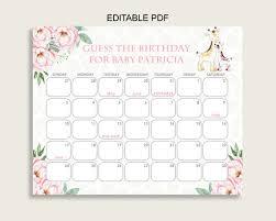 Pink Yellow Guess Baby Due Date Calendar Game Printable Giraffe