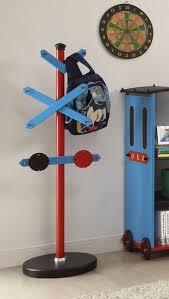 Railroad Coat Rack Kids Modern Tank Engine Railroad Sign Coat Rack in Blue Red 86