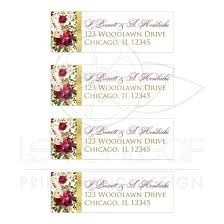Beautiful Burgundy Watercolor Floral Feathers Wedding Address