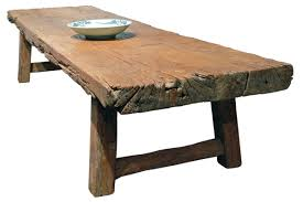 Long Rustic Wood Coffee Table