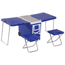 28L Cooler Box Folding Table Chair Set Picnic Camp Freezer Blue Camping Ice  Boxes & Coolers Sporting Goods