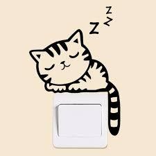 Interestingly Sleeping <b>Kitten Switch Stickers</b> Cartoon Vinyl ...