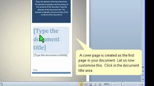 how to create a cover page in word