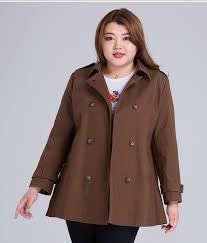 plus size modern cotton trench pea coat