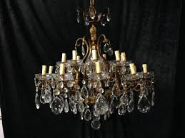 large antique french brass crystal chandelier c 1900 1 of 13
