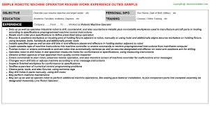 Robotic Machine Operator Resume | Resumes Templates ...