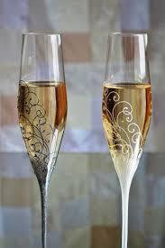 Black And White Wedding Swarovski Flutes Anniversary Glasses