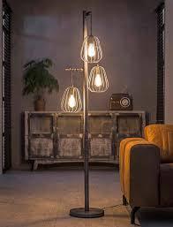 Vloerlamp Rupert 3 Lamps Lampion Oud Zilver Verlichting