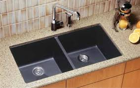 simple kitchen with composite granite kitchen countertops double bowl black blanco undermount kitchen sink
