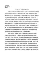 film analysis remember the titans paper running head  2 pages cultural event remember the titans paper