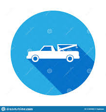 Pick Up Truck With A Crane Icon With Long Shadow. Premium Quality ...